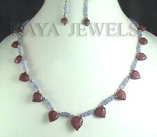 NATURAL TANZANITE & RUBY CARVED LEAFS BEADS NECKLACE WITH EARRINGS