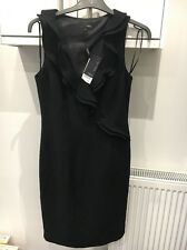 NEXT SIZE 10 BLACK SLEEVELESS DRESS WITH RUFFLE FRONT AND BACK SPLIT BNWTS