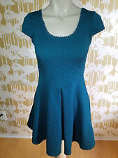"""FREE PEOPLE Teal Cap Sleeve Dress Size X SMALL XS 36"""" Geometric Textur Embossed"""