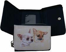 CHIHUAHUA DOG DENIM BLUE PURSE WALLET SANDRA COEN ARTIST WATERCOLOUR PRINT ART