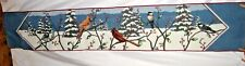 Birds In Snowy Forest Red Bird & Chickadee Tapestry Pillow Top Fabric Piece