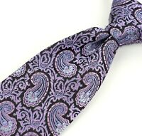 Canali Brown Label Silk Neck Tie Made Italy Black w/Purple/Blue Paisley Pattern