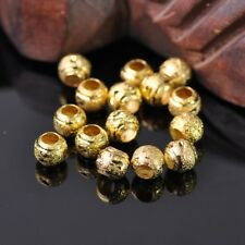 50pcs 8mm Round Gold Carved Big Hole Metal Brass Alloy Loose Spacer Beads