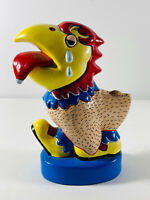 "Vintage K.U. Kansas Jayhawk ""Plucked Again"" crying ceramic paperweight sculpture"