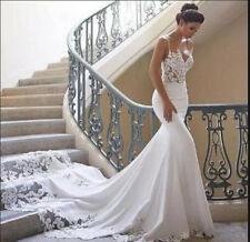 Sexy suspenders White Ivory Wedding Dress Bridal Ball Gown Custom 6 8 10 12 14 +