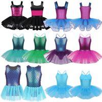 Girls Sequins Gymnastics Leotard Ballet Dance Dress Mermaid Tutu Skirt Costumes