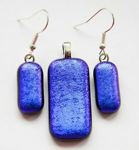 Genuine Hand Crafted Dichroic Glass Pendant & Earrings Set - Indigo Satin
