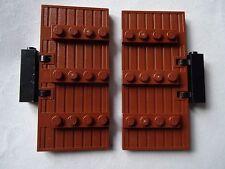 Lego nouveau brun rougeâtre stockade porte 1 x 5 x 8 avec brown lattes & noir charnière