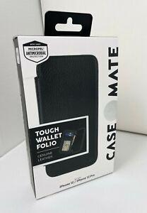Case-Mate Tough Wallet Folio Folding Leather Case for iPhone 12 & 12 Pro Black