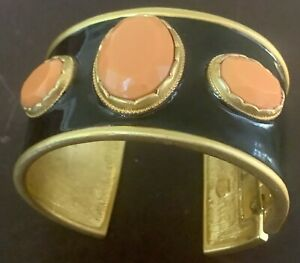 Kenneth J Lane KJL Polished Gold Black Coral Enamel Cuff Bracelet Hinge Cabochon