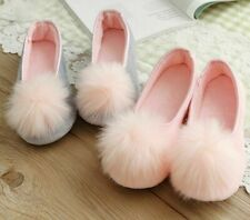 Women Indoor Warm Shoes Slippers Cotton Fabric Synthetic with Charm Fluffy Gift