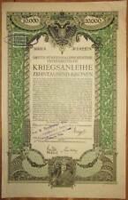 Autriche Austria 3. guerre emprunt 10.000 Couronnes 1915 Austrian était Loan