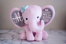 Personalized Baby newborn birth stats announcement, plush elephant stuffed.