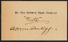 "Gen Anthony McAuliff ""Nuts"" Autograph Reprint On Original Period 1940s 3X5 Card"