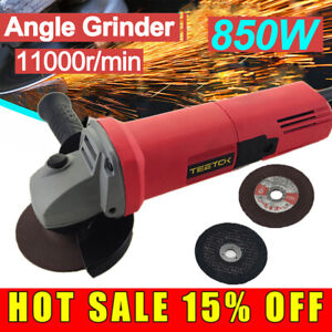 850W Corded Electric Angle Grinder 115mm with Cutting Disc Grinding Sawing Kit