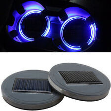 2x Blue Car Solar Cup Holder Bottom Pad LED Light Cover Trim Atmosphere Lamp