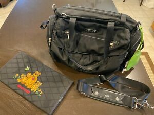TUMI VOYAGEUR Large Black Baby Diaper Bag Duffle Carryon Handbag Bear Purse