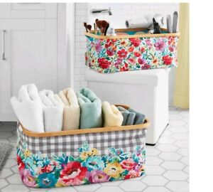 Pioneer Woman Sweet Romance & Petal Party 2 Piece Collapsible Basket Bin Set