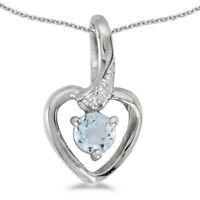 "10k White Gold Round Aquamarine And Diamond Heart Pendant with 16"" Chain"