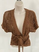 Theory Silk Blend Crochet Knit Wrap Top Large