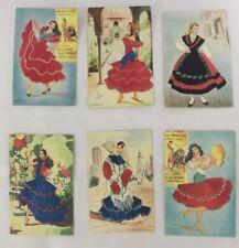 6 Vintage Silk Embroidered Silk Costume Postcards, Spain, Unused.