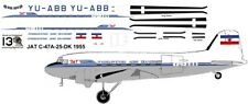 JAT Douglas DC-3 C-47 airliner decals for Minicraft 1/144 kits