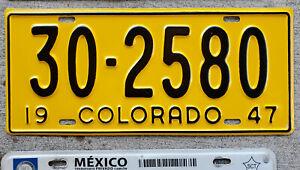 1947 Black on Yellow Colorado License Plate 30 = Alamosa County MINT