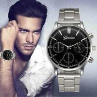 GENEVA Luxury Mens Dial Stainless Steel Watch Analog Quartz Sport Wrist Watches