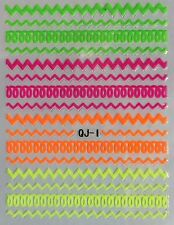 Nail Art 3D Decal Stickers Neon Lines Swirly Zig Zag QJ1