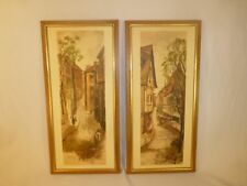 Pair Yaworski Mid-Century Modern French Street Scene Prints - Framed Art