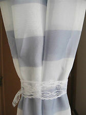 Elegant Grey White Check Tab Top Sheer Curtain 135cm x 245cm
