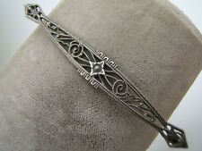 """Vintage Antique Sterling Silver Filigree  Bar Pin w/ Tiny Stone 2.3"""""""