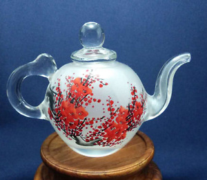 Hand painted glass teapot antique glass art, reversed paint, red plum blossom