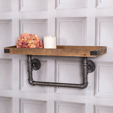 Industrial Pipe Wall Shelf Wooden Floating Display Rustic Storage Shelving Unit