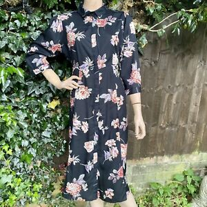 Cotton Traders Black Floral Modal Frockstar Shirt Dress Size 12