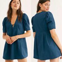 Free People Adelle Tunic Mini Dress Size Medium Boho Teal Babydoll New $108