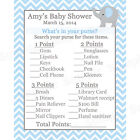 24 Personalized Baby Shower  WHAT'S IN YOUR PURSE Game Cards  -Elephant