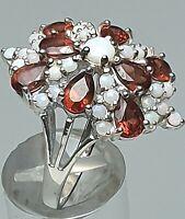 925 Silber Ring Handarbeit Granate & Vollopale besetzt RG 60/19,1 mm /A 925