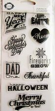 Occasions Holiday Sayings Teresa Collins Clear Acrylic Fiskars Stamp Set NEW!