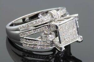 .62 CARAT REAL DIAMONDS STERLING SILVER RHODIUM ENGAGEMENT BRIDAL WEDDING RING