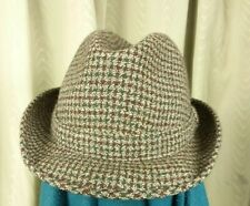 Dunn & Co. Brown Green Houndstooth Check Trilby Hat - Size 7