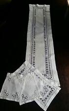 Antique Victorian White Fine Linen  Table Runner plus 3 mats Open Cut Work Lace