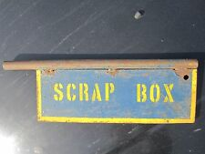 ANTIQUE SCRAP BOX PAINT METAL INDUSTRIAL SIGN BLUE YELLOW RUST INTERIOR DECORATE