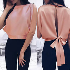 Sexy Women Sleeveless Casual Top Blouse Ladies Turtleneck Backless Tie Crop Tops