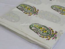 By The Yard Indian Hand Block Print Fabric Cotton Voile White Sanganeri Fabric
