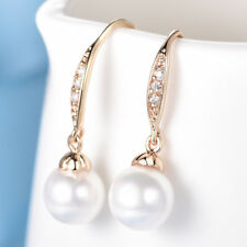 Women Engagement Swarovski Crystal Yellow Gold Filled Dangle Hook Pearl Earrings