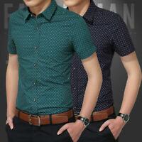 Luxury Men's Fashion Shirt Slim Fit Short Sleeve Cotton Formal Dress Shirts Tops