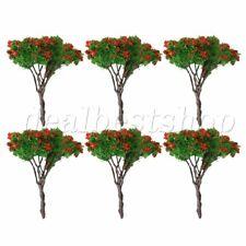 6 x Plastic Flower Tree Micro Landscape Model Decoration Iron Wire 6.5cm