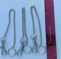 BELT CLIP KEY CHAIN, SNAP TRIGGER HOOK WITH CHAIN & KEY RING ( LOT OF 6)