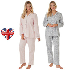 Ladies 100/% Cotton Jersey Long Sleeved Button Front Pyjamas Blue or Pink 8 to 26